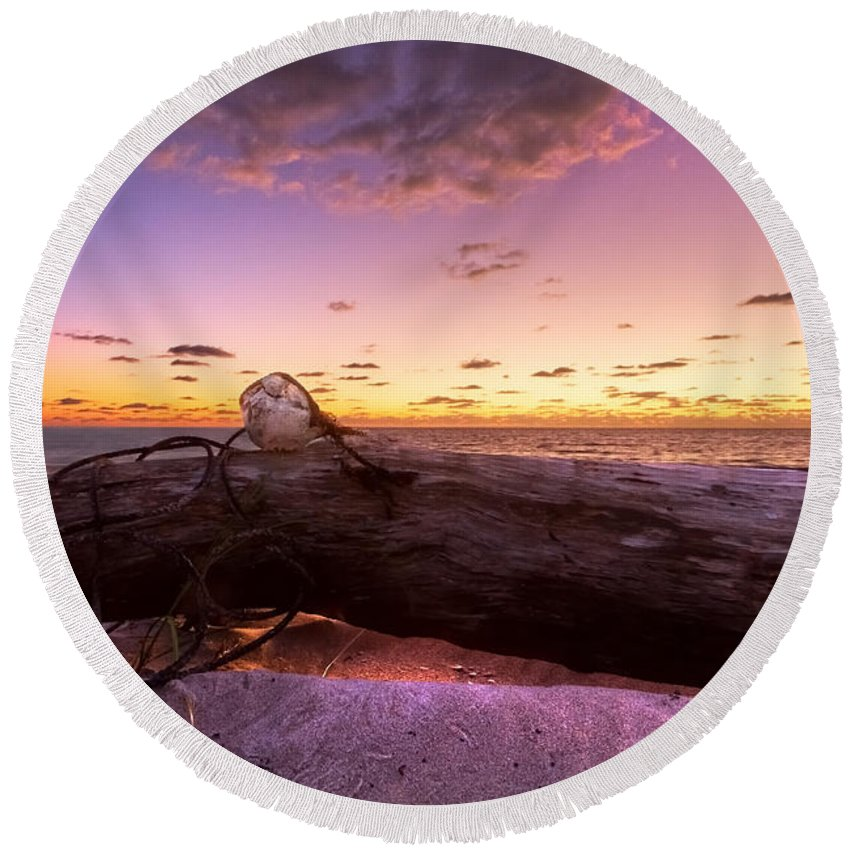 Clouds Round Beach Towel featuring the photograph Driftwood by Debra and Dave Vanderlaan