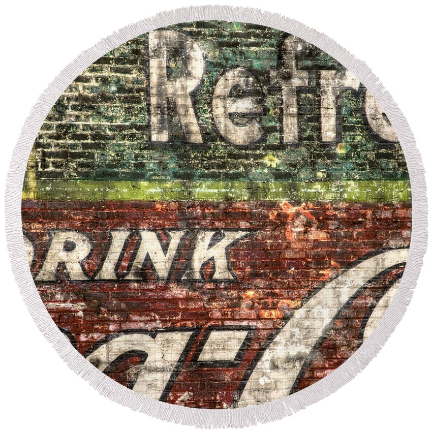 Building Round Beach Towel featuring the photograph Drink Coca-cola 1 by Scott Norris