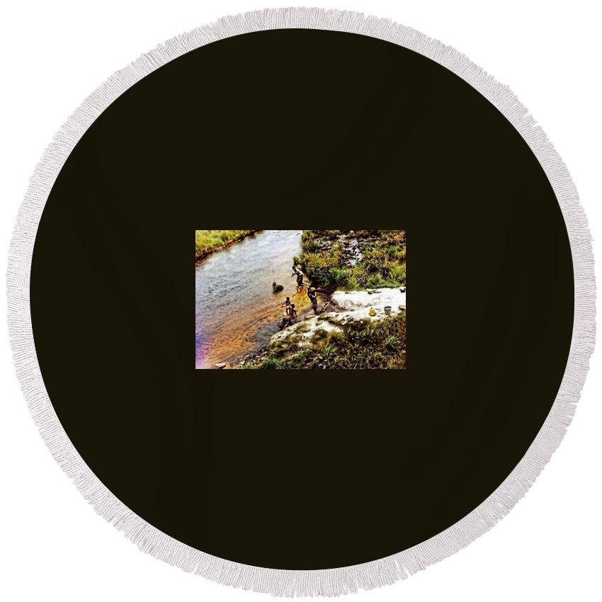 Africa Round Beach Towel featuring the photograph Drinking Water by Image Takers Photography LLC