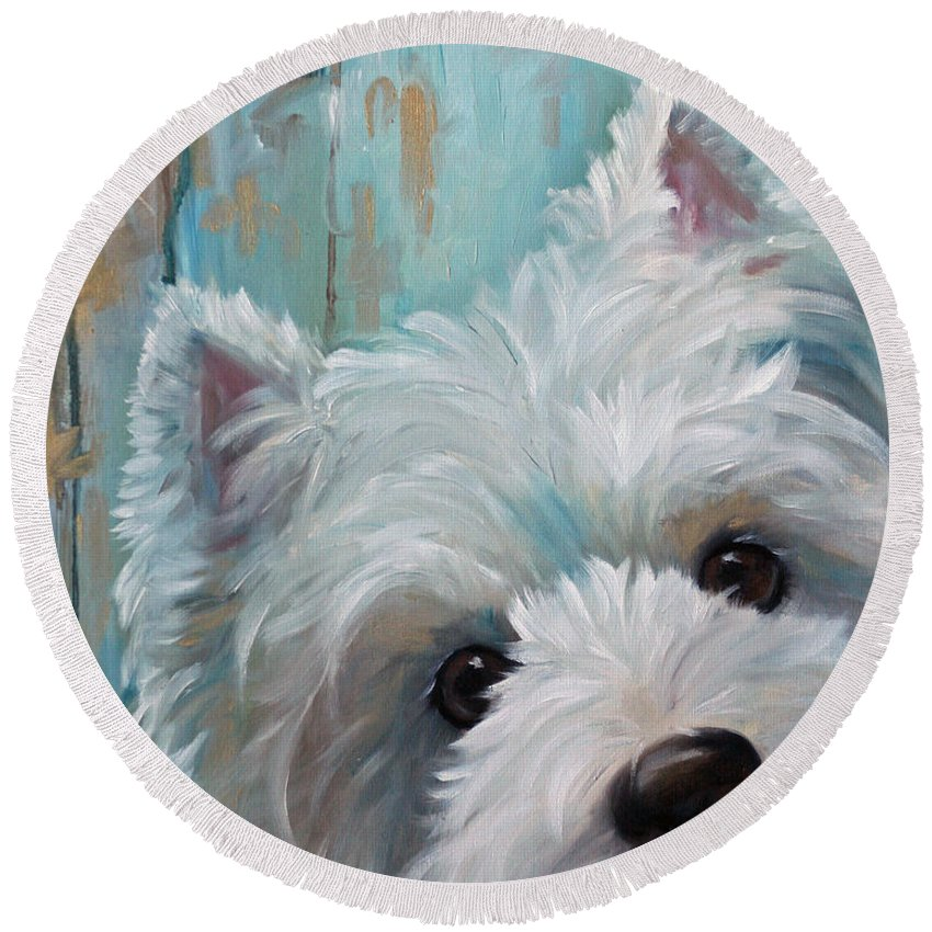West Highland Terrier Round Beach Towel featuring the painting Drip by Mary Sparrow