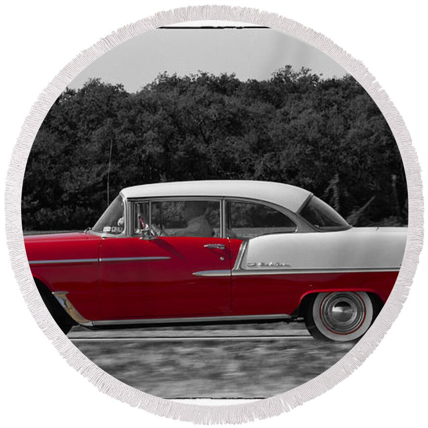 Chevy Round Beach Towel featuring the photograph Driving A Dream by Debby Richards