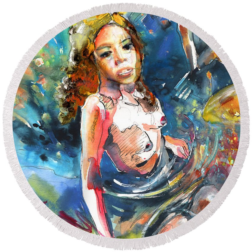Women Round Beach Towel featuring the painting Drowning In Love by Miki De Goodaboom