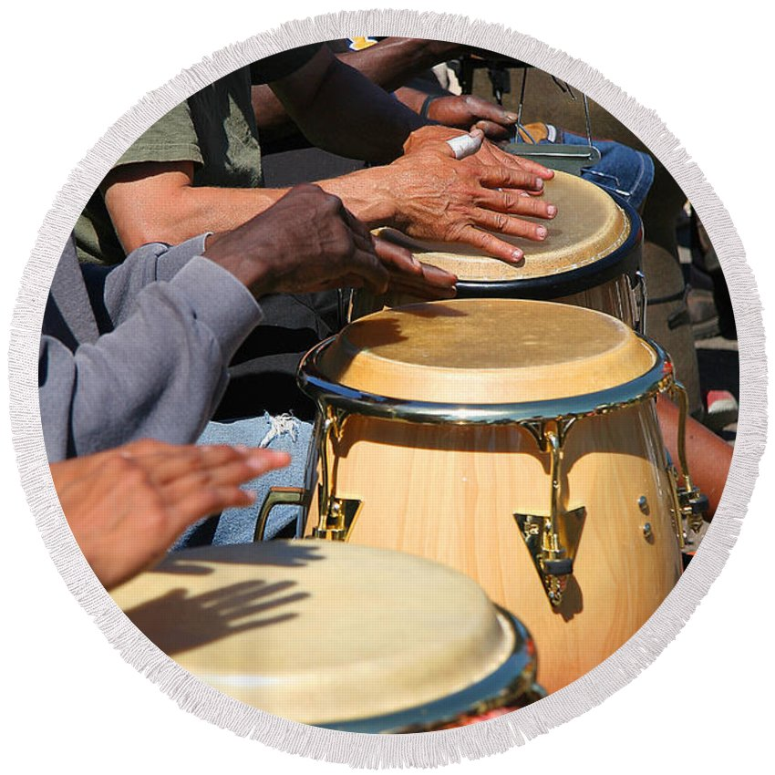 Drums Round Beach Towel featuring the photograph Drum Jammin In Golden Gate Park by Robert Woodward