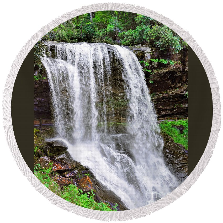 Dry Falls In Macon County Round Beach Towel featuring the photograph Dry Falls by Savannah Gibbs