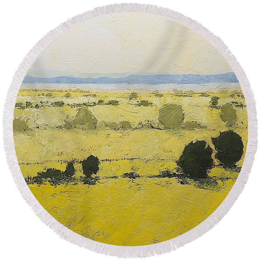 Landscape Round Beach Towel featuring the painting Dry Grass by Allan P Friedlander