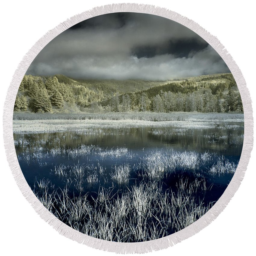 Infrared Round Beach Towel featuring the photograph Dry Lagoon Winter by Greg Nyquist