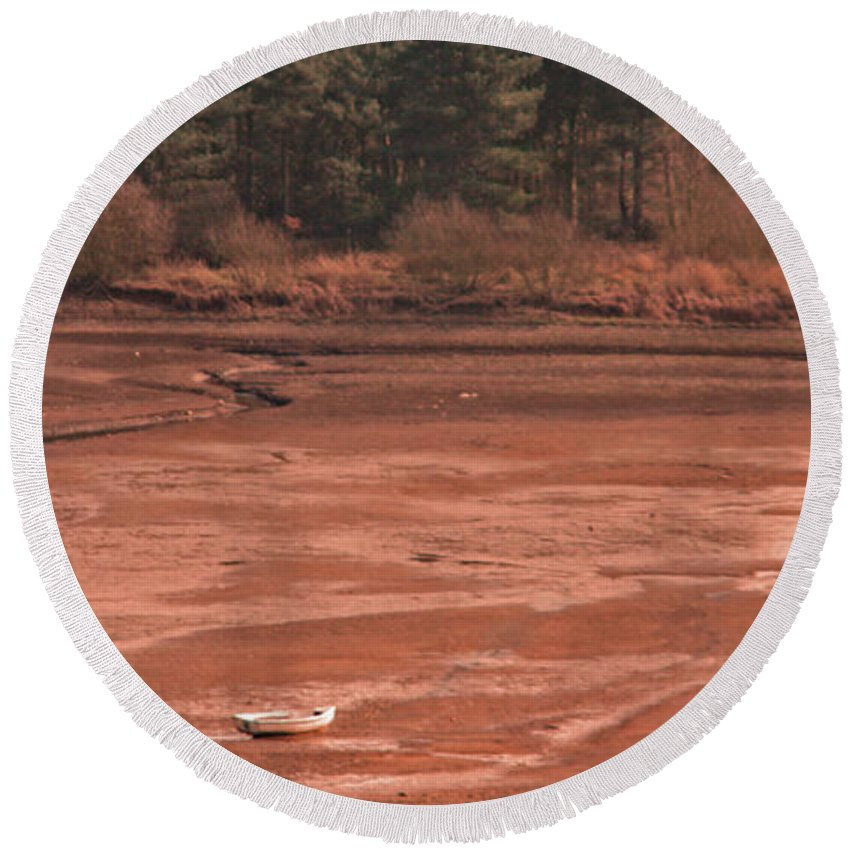 Cropston Reservoir Round Beach Towel featuring the photograph Dry Reservoir by Linsey Williams
