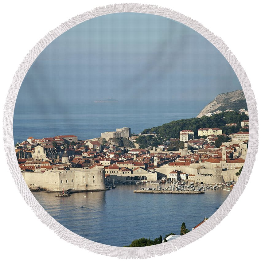 Adriatic Round Beach Towel featuring the photograph Dubrovnik In Croatia by JM Travel Photography