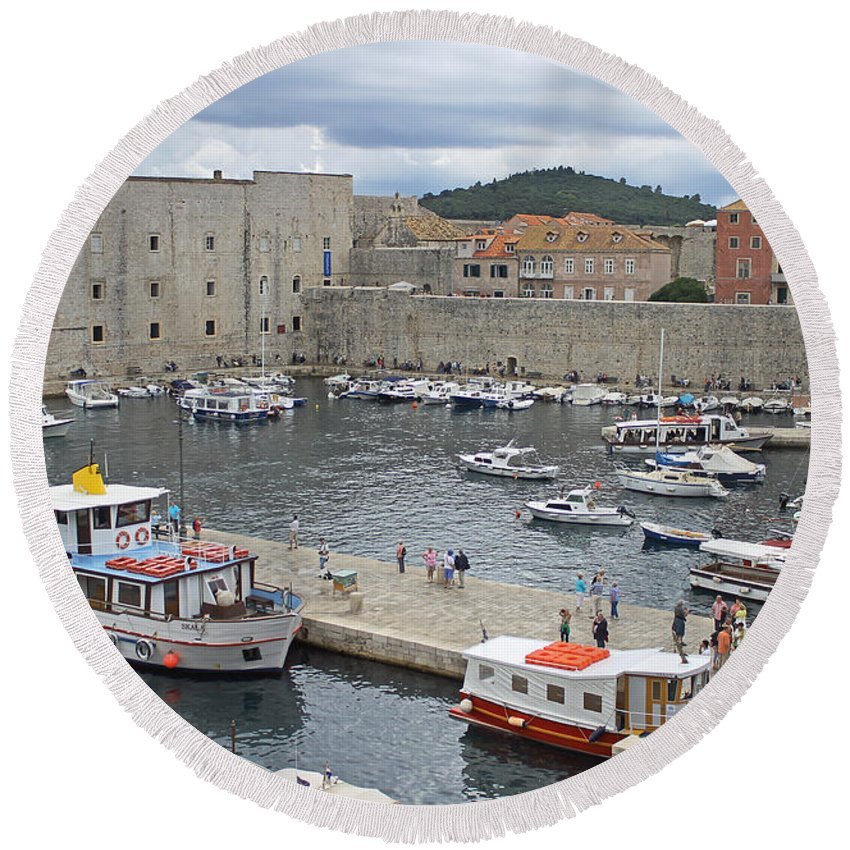 Dubrovnik Old Harbour Round Beach Towel featuring the photograph Dubrovnik Old Harbour by Tony Murtagh
