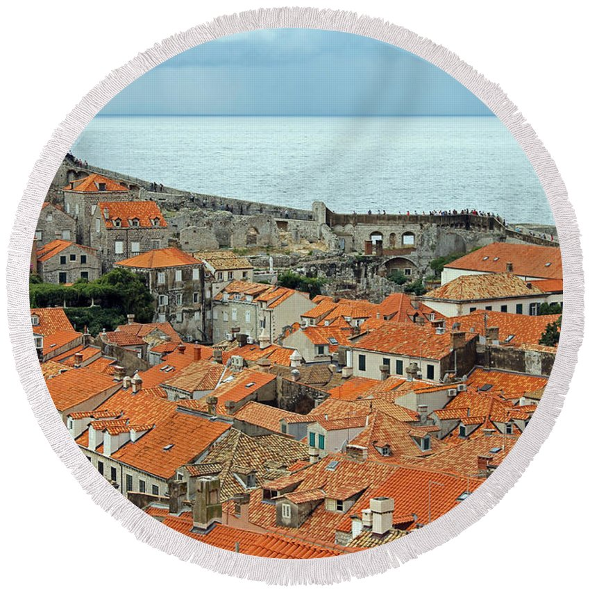 Dubrovnik Rooftops Round Beach Towel featuring the photograph Dubrovnik Rooftops And Walls by Tony Murtagh