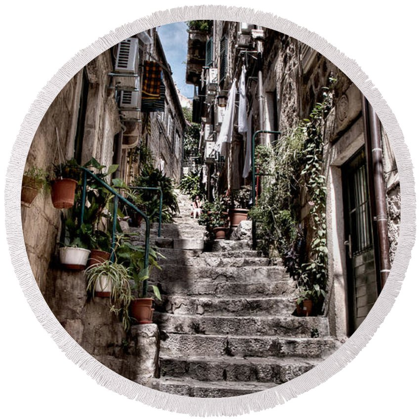 Dubrovnik Round Beach Towel featuring the photograph Dubrovnik Streets 6 by Weston Westmoreland