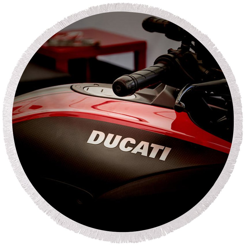 Motorcycle Round Beach Towel featuring the photograph Ducati-unplugged V8 by Douglas Barnard