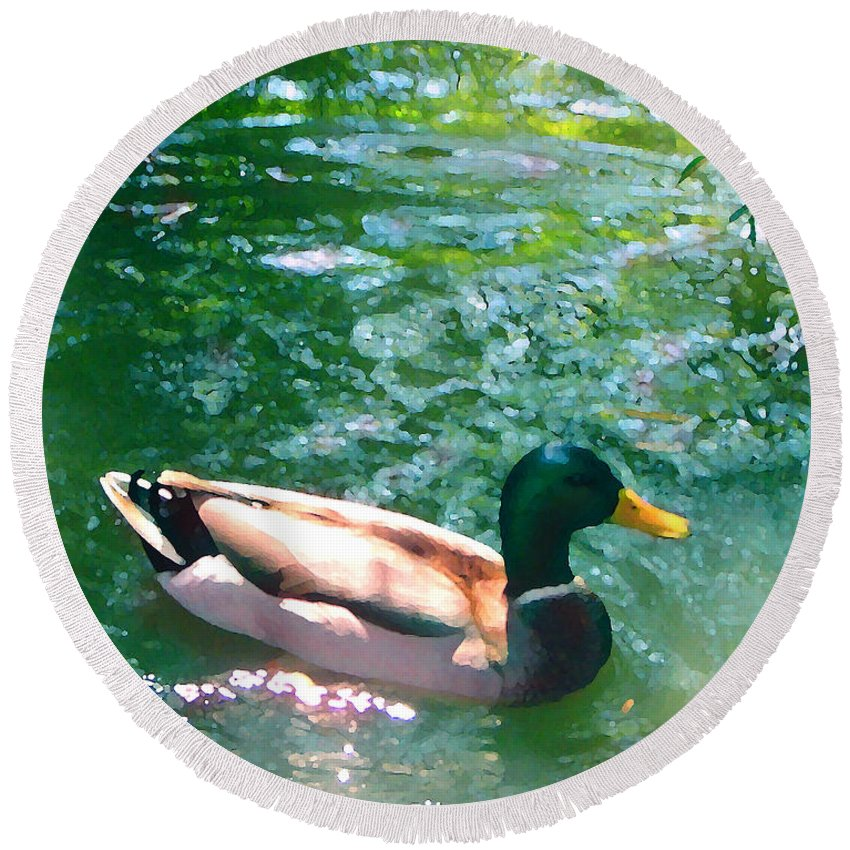 Round Beach Towel featuring the painting Duck On Green Pond by Amy Vangsgard