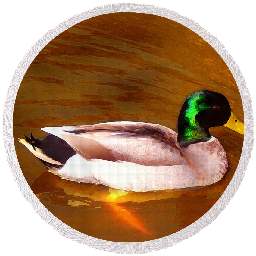 Animal Round Beach Towel featuring the painting Duck Swimming On Golden Pond by Amy Vangsgard