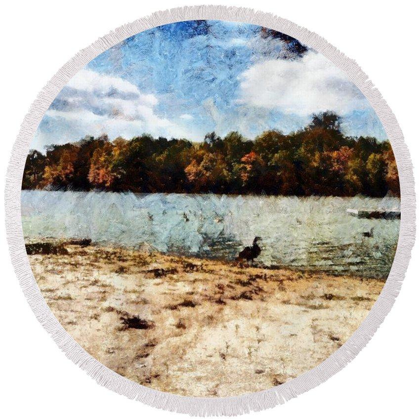 Sacredlife Mandalas Round Beach Towel featuring the painting Ducks At The Beach Again by Derek Gedney