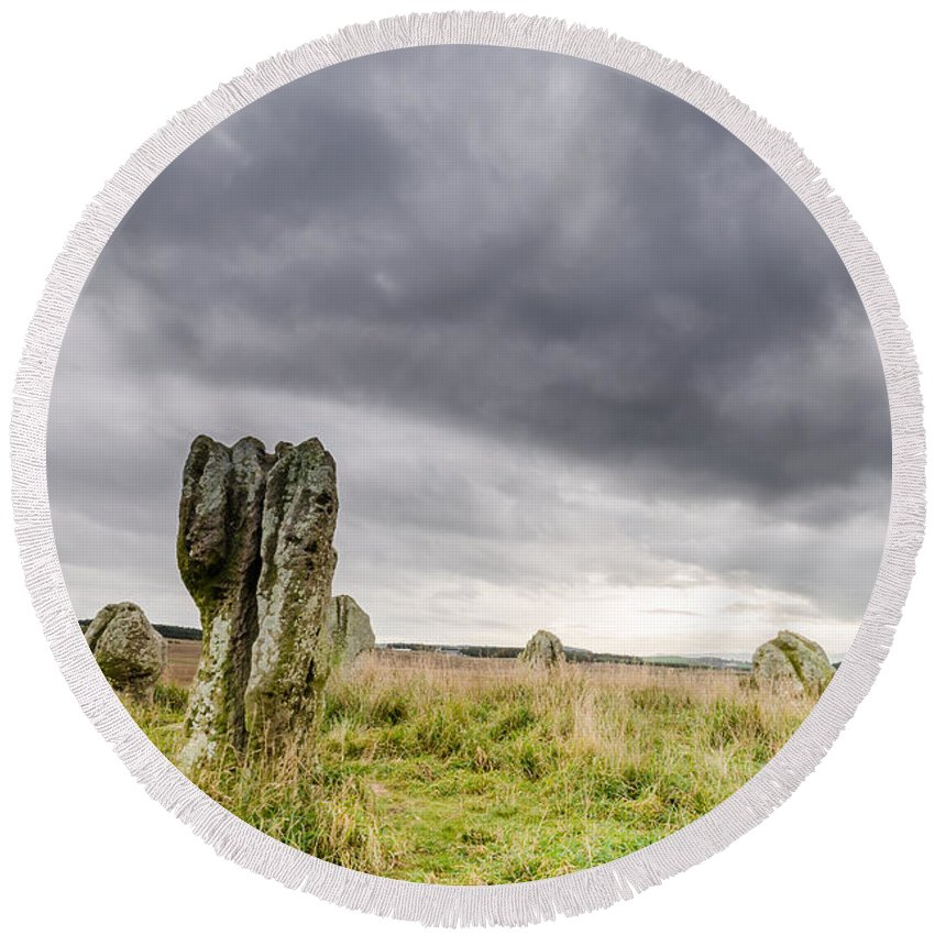 Northumberland Round Beach Towel featuring the photograph Duddo Prehistoric Stone Cicle by David Head