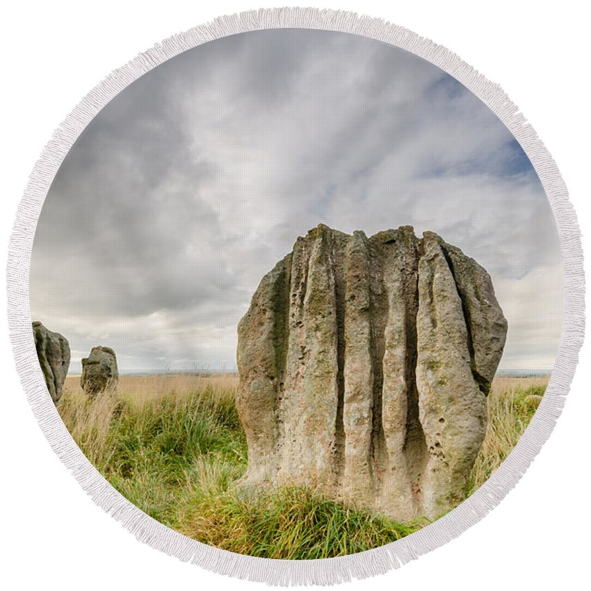 Northumberland Round Beach Towel featuring the photograph Duddo Stones by David Head