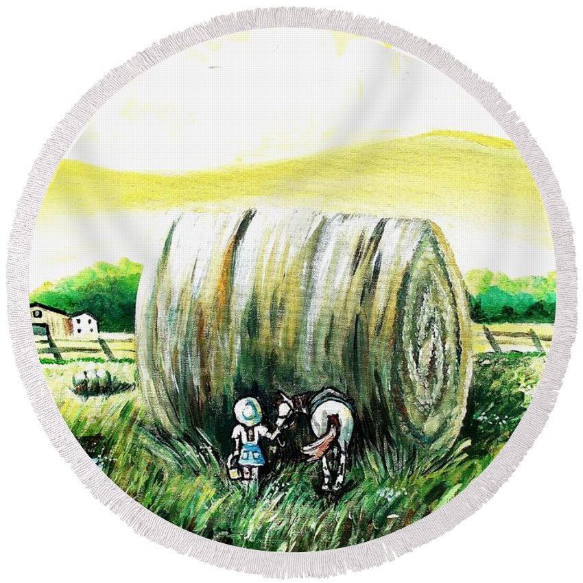 Farm Round Beach Towel featuring the painting Dude I Am Not Eating That by Shana Rowe Jackson