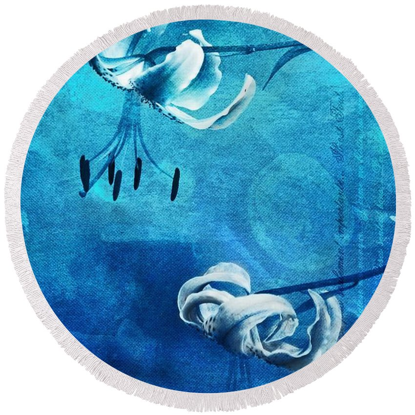 Floral Round Beach Towel featuring the photograph Duet - Blue03 by Variance Collections