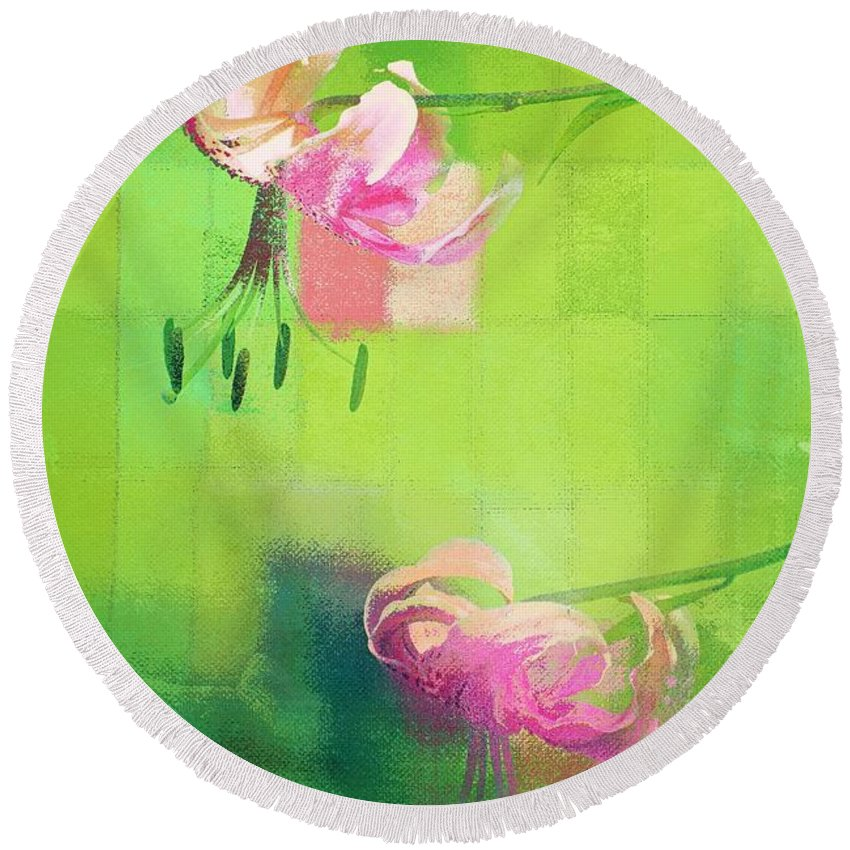 Floral Round Beach Towel featuring the photograph Duet - J052064173gr by Variance Collections