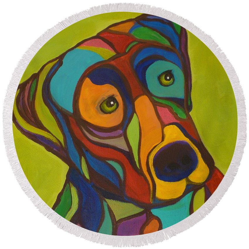 Dogs Round Beach Towel featuring the painting Duke by Kelly Simpson