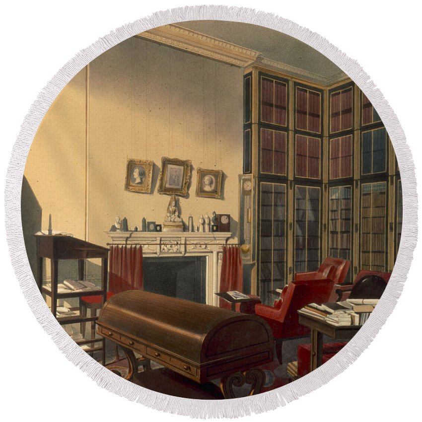 Library Round Beach Towel featuring the drawing Dukes Own Room, Apsley House, By T. Boys by Thomas Shotter Boys