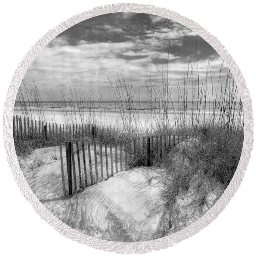 Clouds Round Beach Towel featuring the photograph Dune Fences by Debra and Dave Vanderlaan