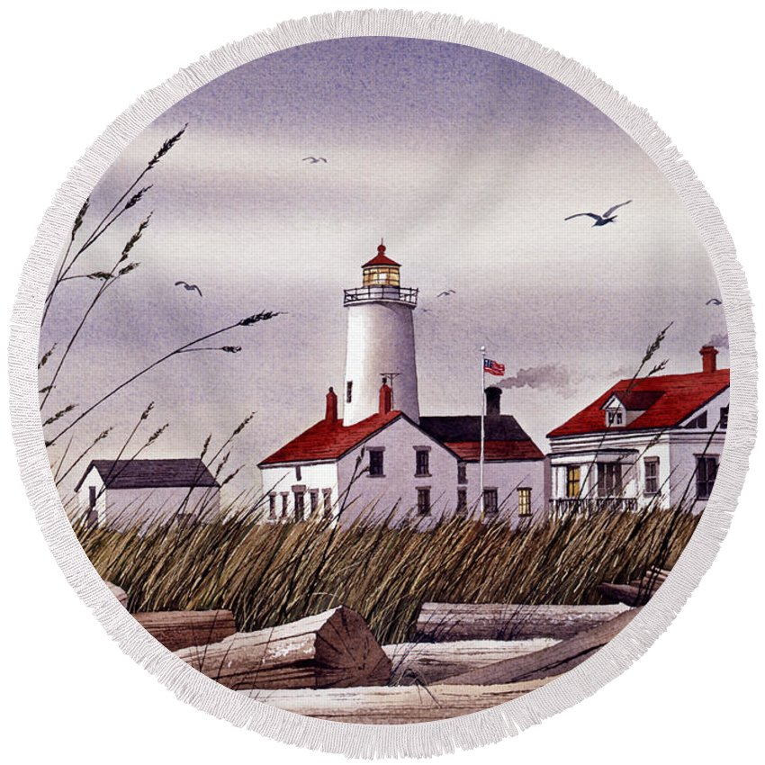 Lighthouse Fine Art Print Round Beach Towel featuring the painting Dungeness Lighthouse by James Williamson