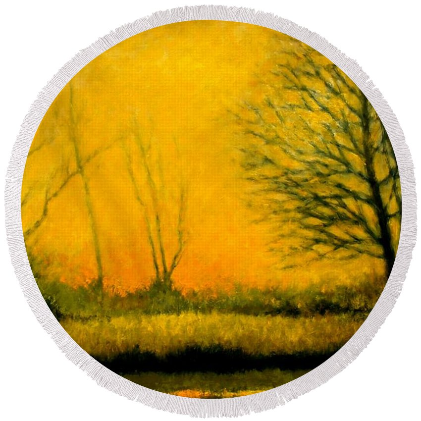 Landscape Round Beach Towel featuring the painting Dusk At The Refuge by Jim Gola