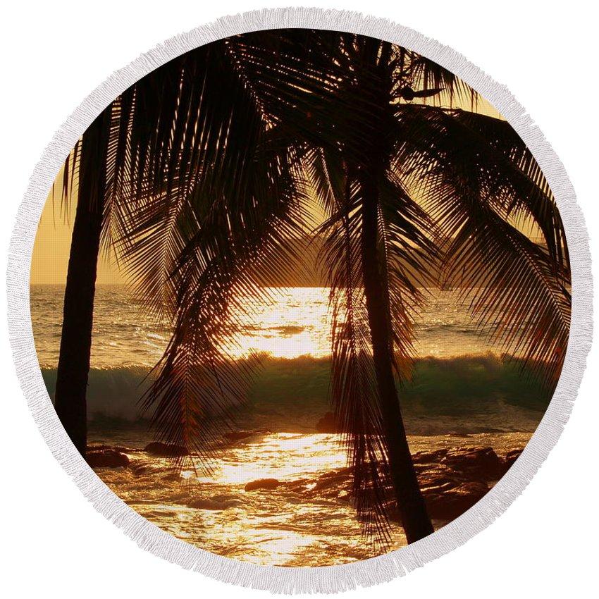 Hawaii# Hawaiian Sunset Round Beach Towel featuring the photograph Dusk by Athala Bruckner