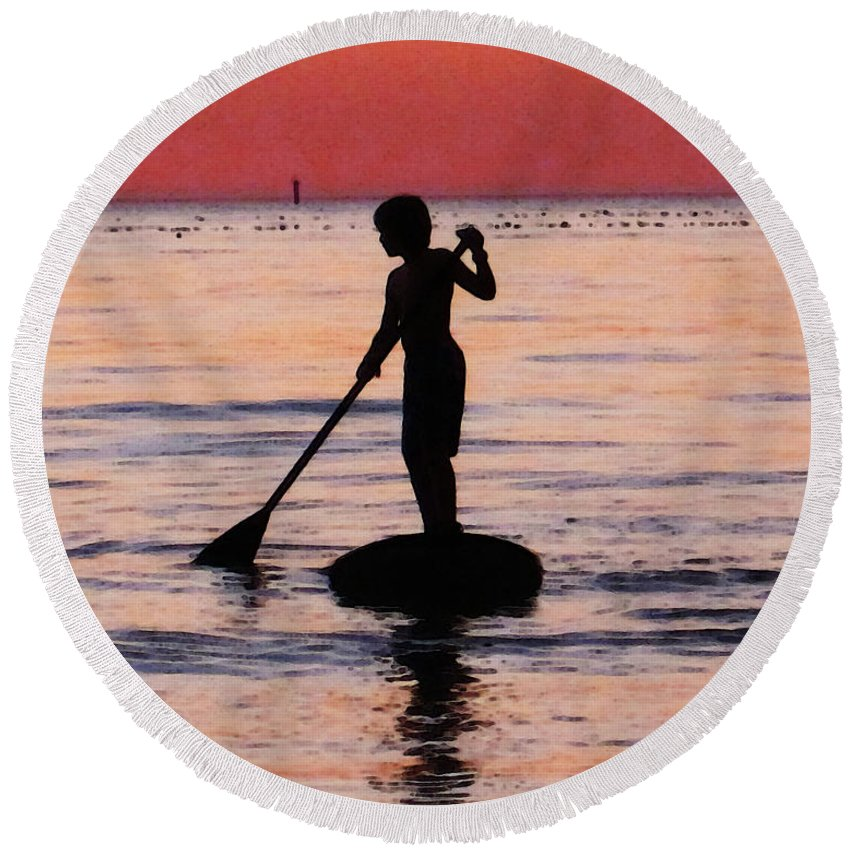 Silhouette Round Beach Towel featuring the painting Dusk Float - Sunset Art by Sharon Cummings