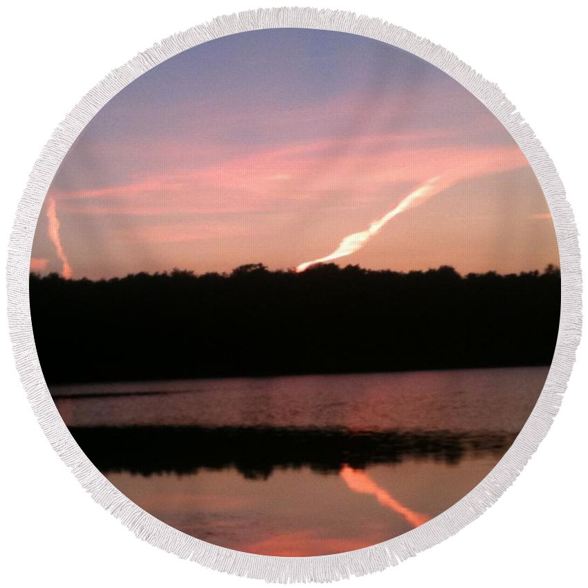 Dusk Round Beach Towel featuring the photograph Dusk in the Poconos by Sheila Mashaw
