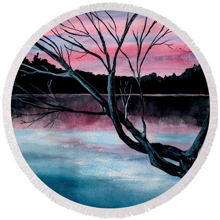 Landscape Round Beach Towel featuring the painting Dusk Lake Arrowhead Maine by Brenda Owen