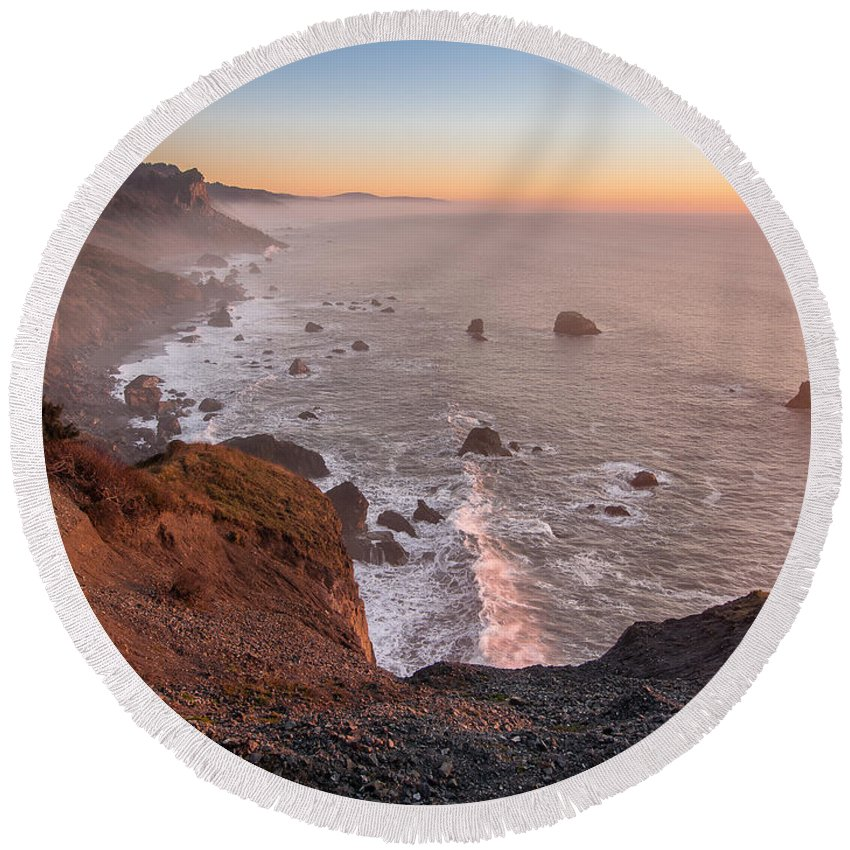 Redwood National Park Round Beach Towel featuring the photograph Dusk On The Northcoast by Greg Nyquist