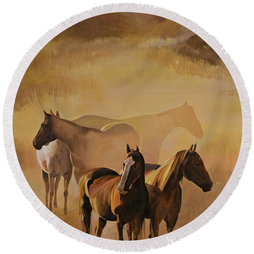 Horses Round Beach Towel featuring the painting Dust Bowl by Bill Dunkley