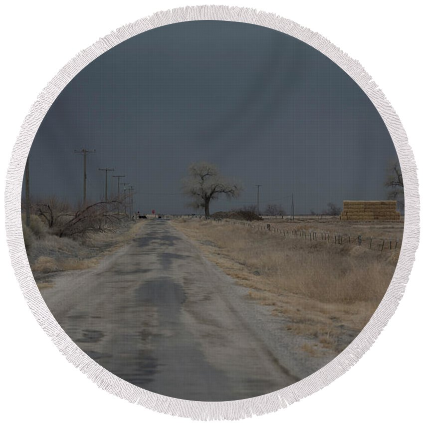 Usa Round Beach Towel featuring the photograph Dust Storm, Lovelock, Nevada by Peter Essick