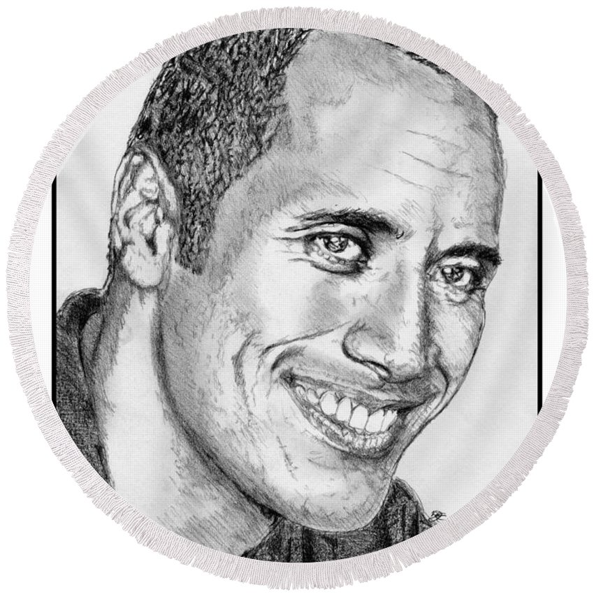 Mccombie Round Beach Towel featuring the drawing Dwayne Johnson In 2007 by J McCombie