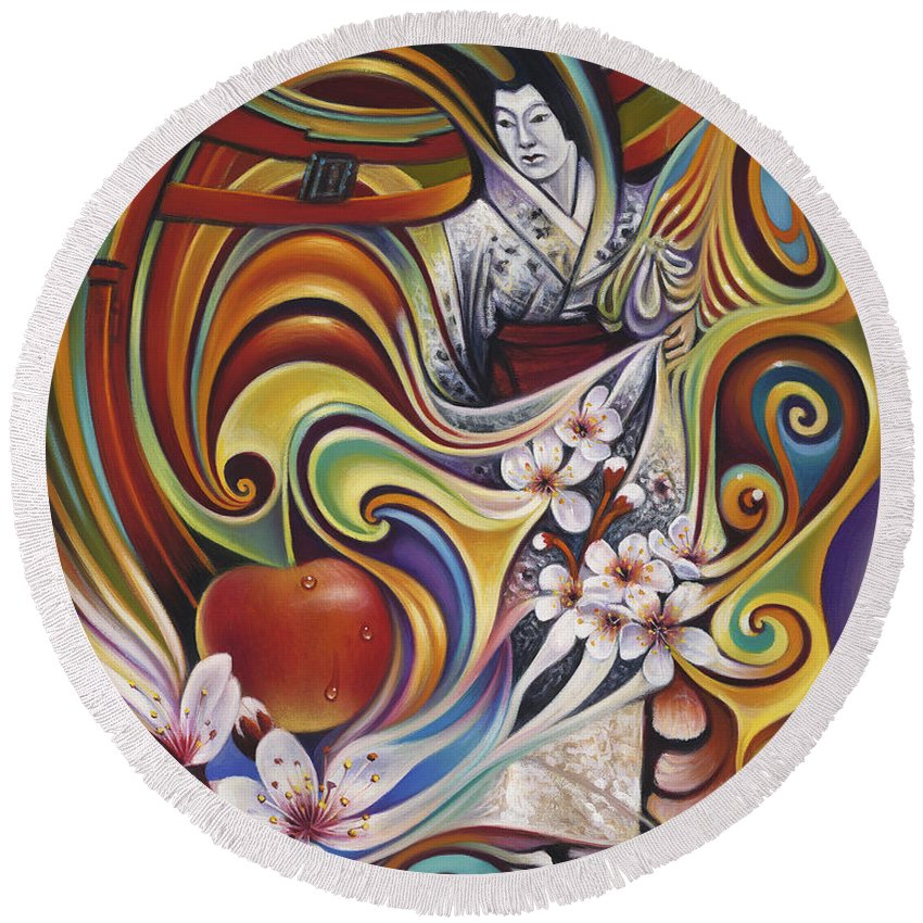 Cherry-blossoms Round Beach Towel featuring the painting Dynamic Blossoms by Ricardo Chavez-Mendez