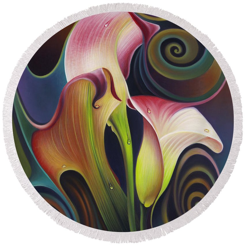 Calalily Round Beach Towel featuring the painting Dynamic Floral 4 Cala Lillies by Ricardo Chavez-Mendez
