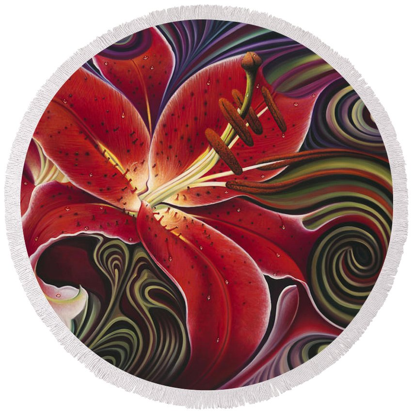 Lily Round Beach Towel featuring the painting Dynamic Reds by Ricardo Chavez-Mendez