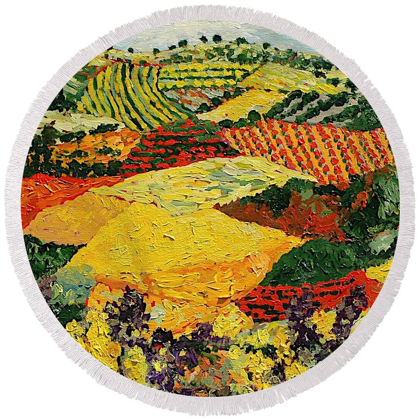 Landscape Round Beach Towel featuring the painting Early Clouds by Allan P Friedlander