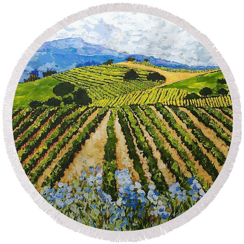 Landscape Round Beach Towel featuring the painting Early Crop by Allan P Friedlander