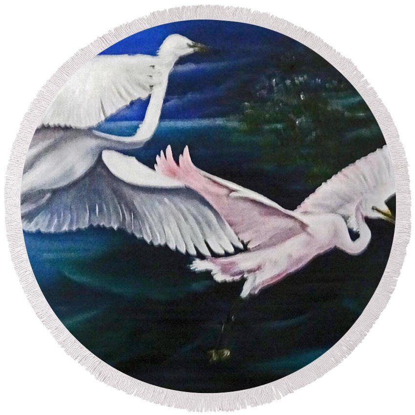 Snowy Egrets Round Beach Towel featuring the painting Early Flight by Karin Dawn Kelshall- Best