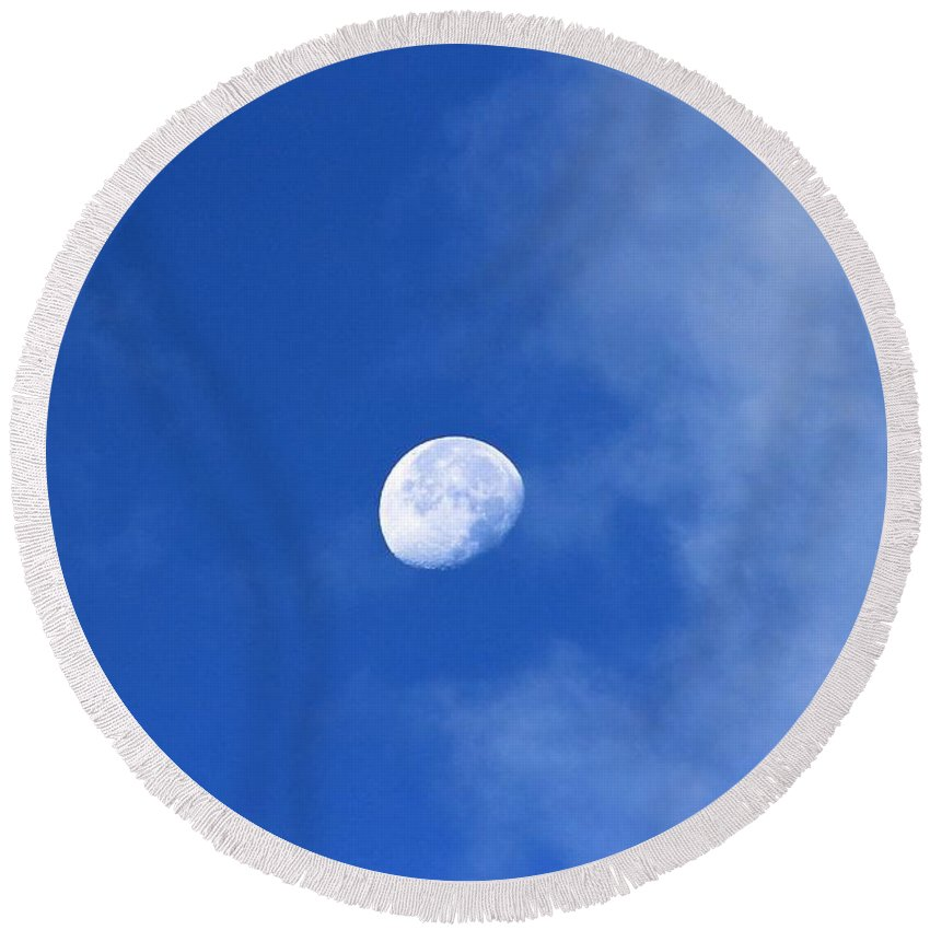 Moon Round Beach Towel featuring the photograph Early Moon by Leone Lund