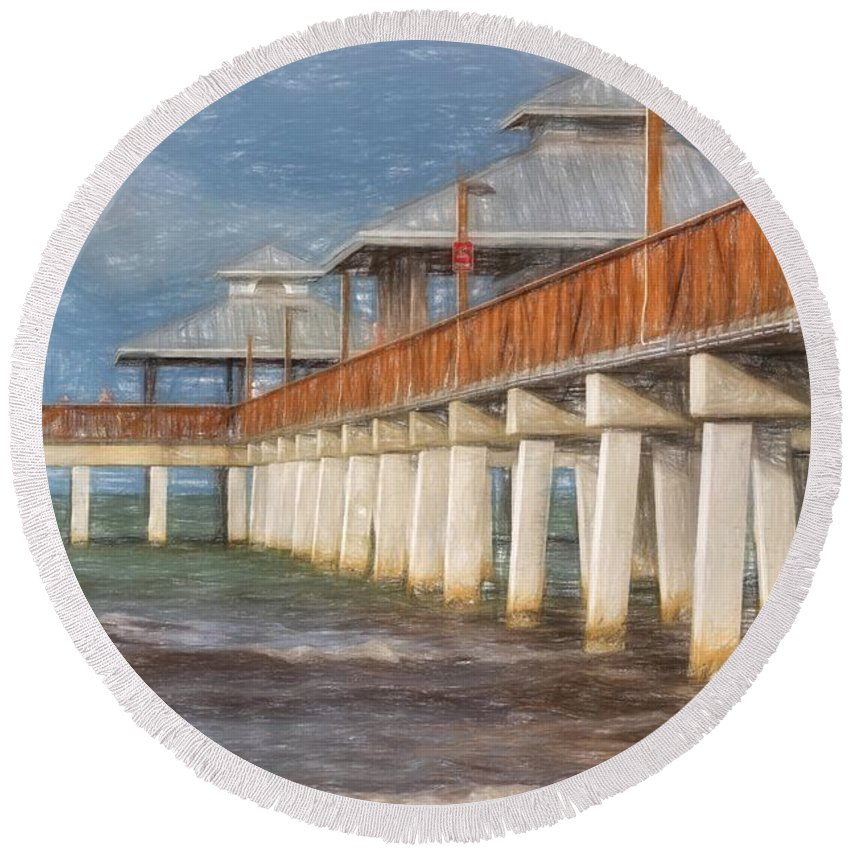 Pier Round Beach Towel featuring the photograph Early Morning At Fort Myers Beach by Kim Hojnacki