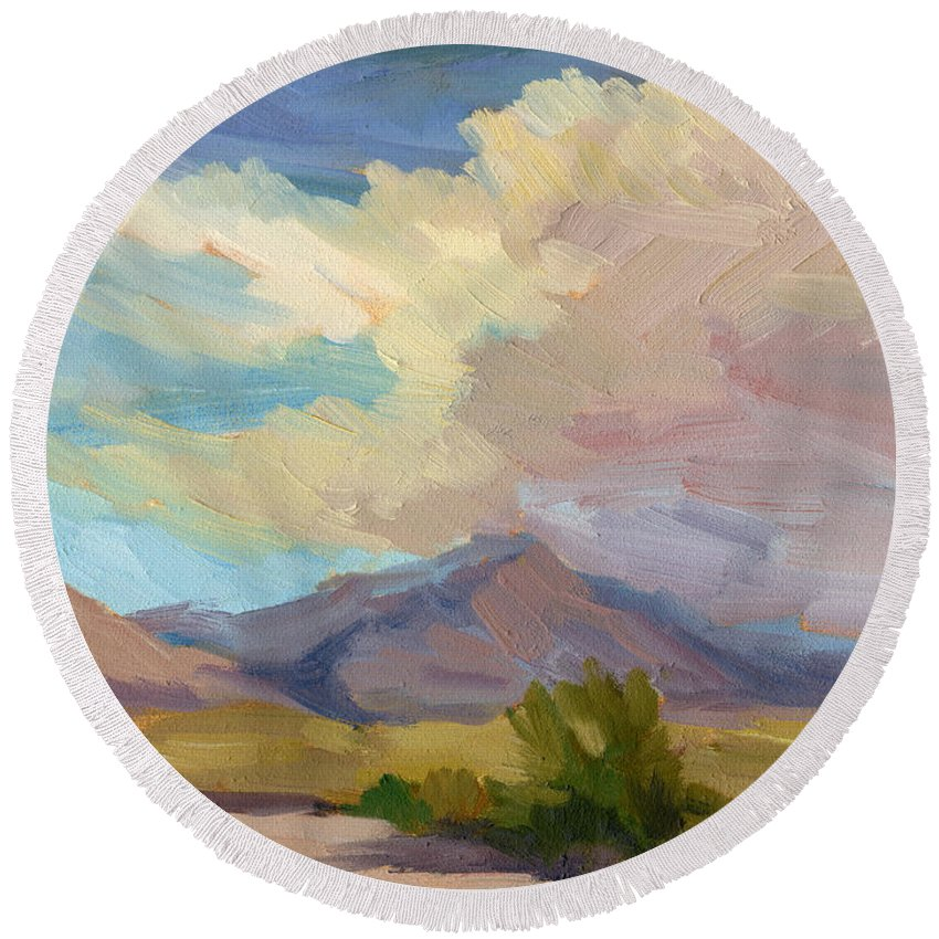 Early Morning Round Beach Towel featuring the painting Early Morning At Thousand Palms by Diane McClary