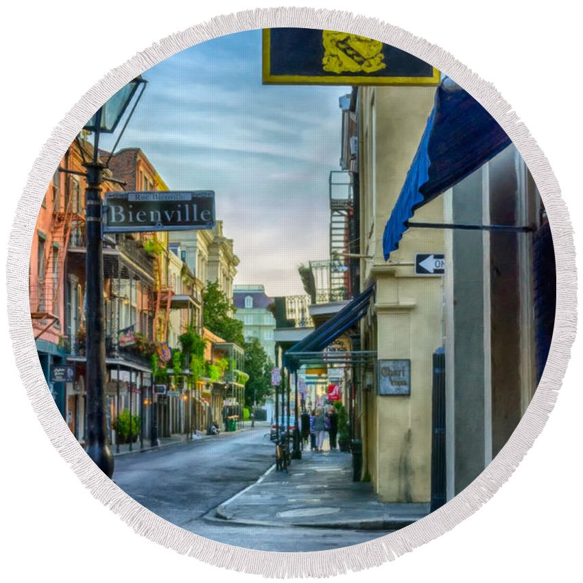 2014 Round Beach Towel featuring the photograph Early Morning In French Quarter Nola by Kathleen K Parker