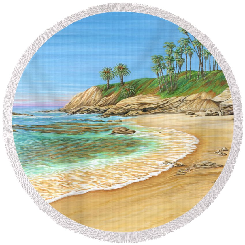 Beach Round Beach Towel featuring the painting Early Morning Laguna by Jane Girardot
