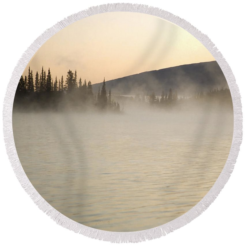 Americas Round Beach Towel featuring the photograph Early Morning Mist On Boya Lake by Roderick Bley