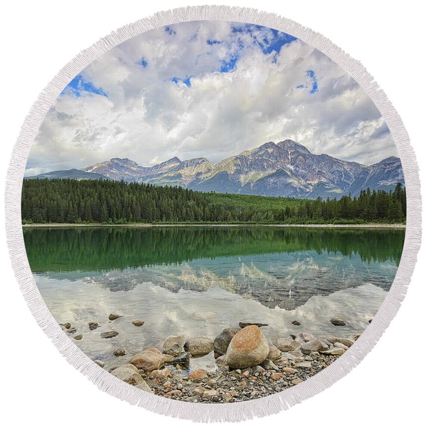 Lake Round Beach Towel featuring the photograph Early Morning Reflections by Teresa Zieba